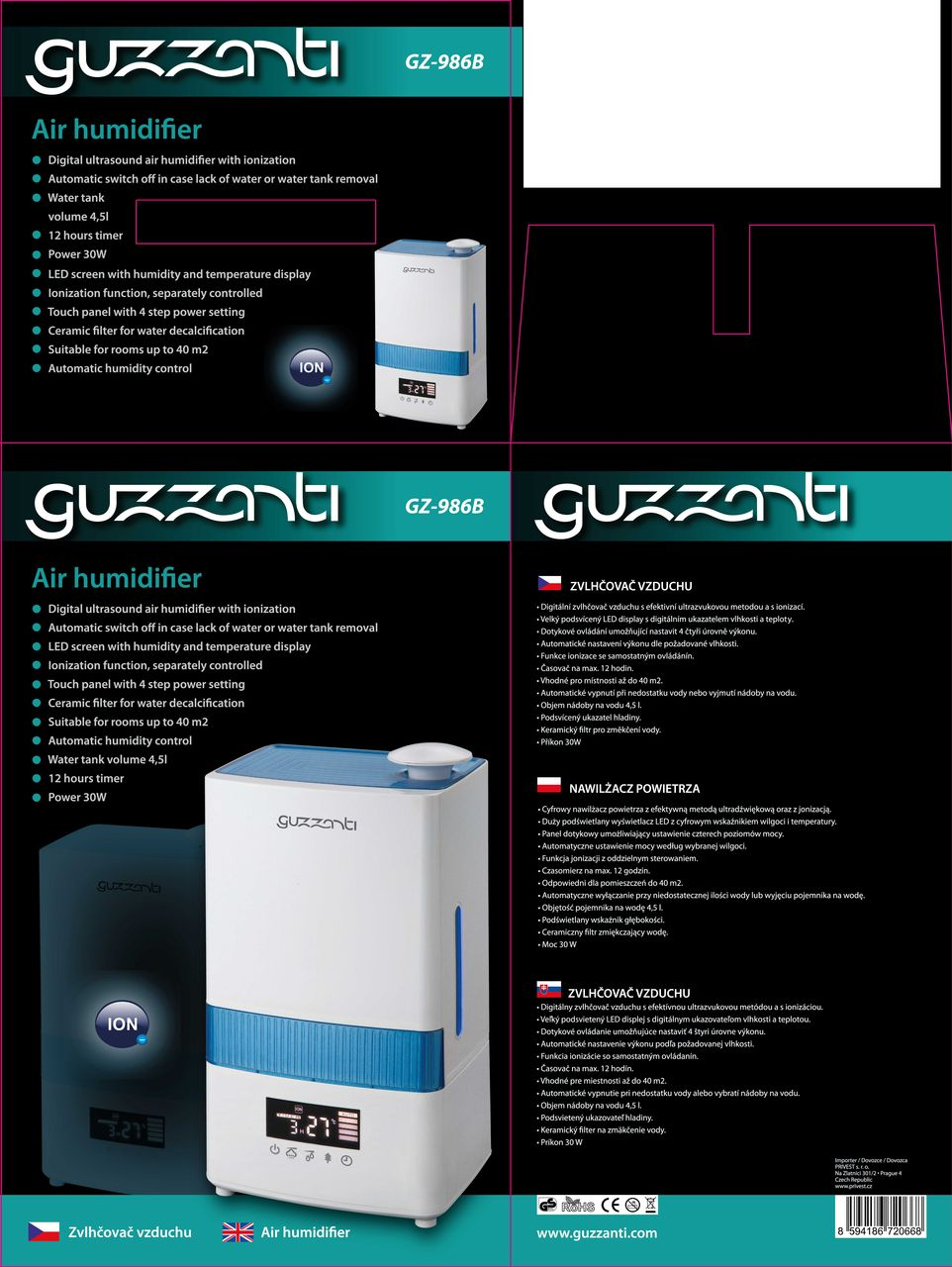 Air Humidifier Guzzanti Gz 986b Automatic